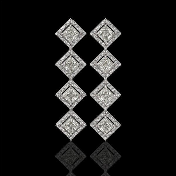 5.31 ctw Princess Cut Diamond Micro Pave Earrings 18K White Gold - REF-733X8A