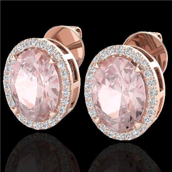 5.50 ctw Morganite & Micro VS/SI Diamond Halo Earrings 14k Rose Gold - REF-125F5M