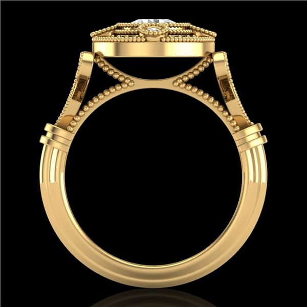1.12 ctw VS/SI Diamond Solitaire Art Deco Ring 18k Yellow Gold - REF-250H2R