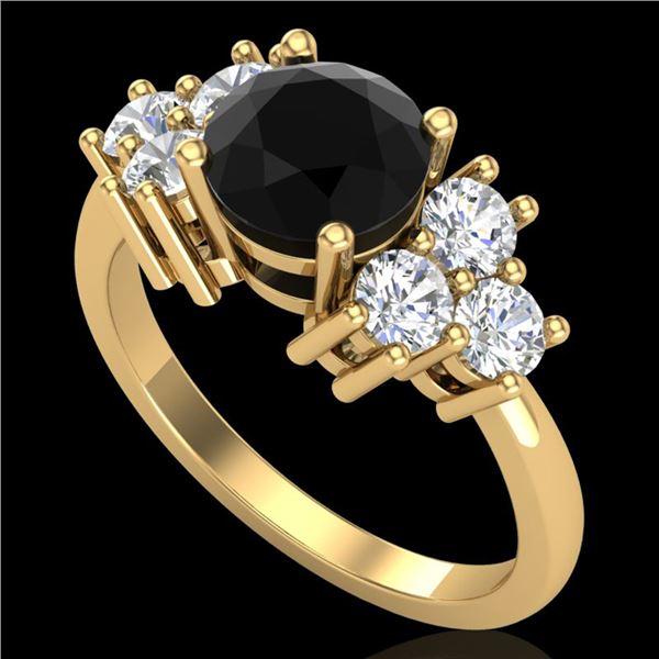 1.51 ctw Fancy Black Diamond Engagment Art Deco Ring 18k Yellow Gold - REF-127A3N