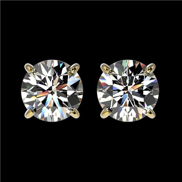 1.55 ctw Certified Quality Diamond Stud Earrings 10k Yellow Gold - REF-127G5W