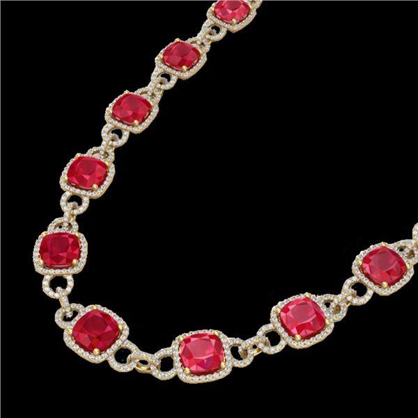 56 ctw Ruby & Micro VS/SI Diamond Eternity Necklace 14k Yellow Gold - REF-1003Y6X