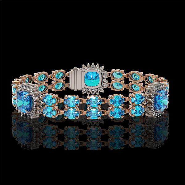 18.97 ctw Swiss Topaz & Diamond Bracelet 14K Rose Gold - REF-237X8A