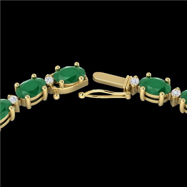 55.5 ctw Emerald & VS/SI Certified Diamond Eternity Necklace 10k Yellow Gold - REF-425N5F