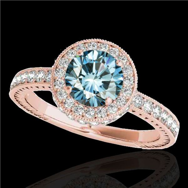 1.51 ctw SI Certified Fancy Blue Diamond Halo Ring 10k Rose Gold - REF-135Y2X