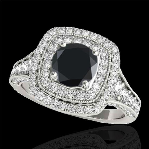 2 ctw Certified VS Black Diamond Solitaire Halo Ring 10k White Gold - REF-94R3K