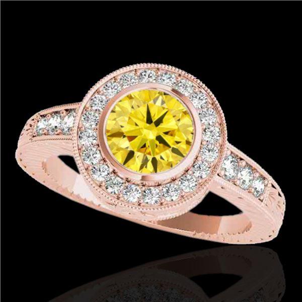 1.50 ctw Certified SI/I Fancy Intense Yellow Diamond Ring 10k Rose Gold - REF-197G8W