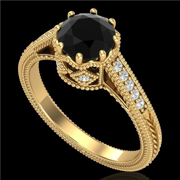 1.25 ctw Fancy Black Diamond Engagment Art Deco Ring 18k Yellow Gold - REF-100G2W