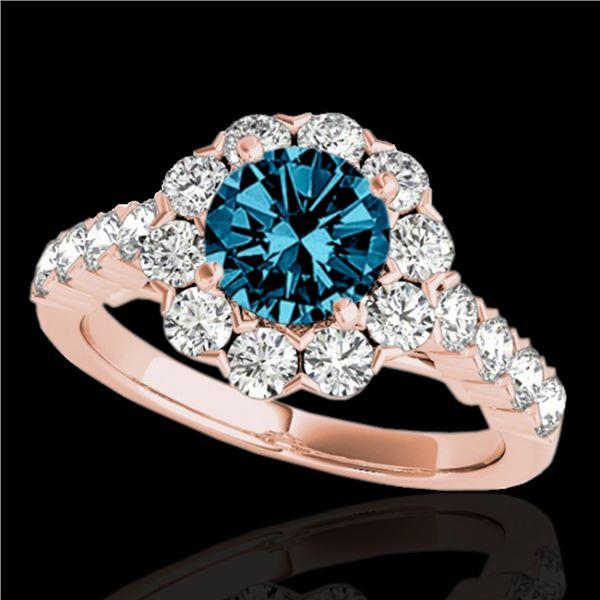 2.35 ctw SI Certified Fancy Blue Diamond Halo Ring 10k Rose Gold - REF-184K3Y