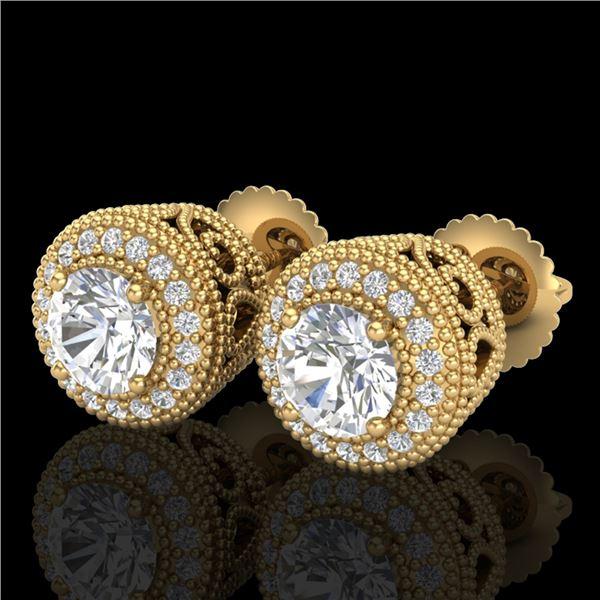 1.55 ctw VS/SI Diamond Solitaire Art Deco Stud Earrings 18k Yellow Gold - REF-259M3G