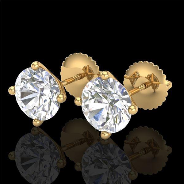 2.5 ctw VS/SI Diamond Solitaire Art Deco Stud Earrings 18k Yellow Gold - REF-601Y4X