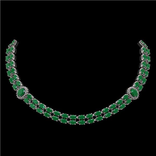 43.13 ctw Emerald & Diamond Necklace 14K White Gold - REF-527W3H