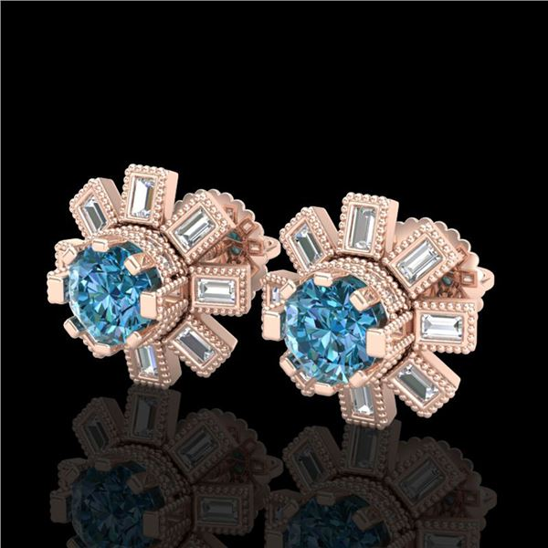 1.77 ctw Fancy Intense Blue Diamond Art Deco Earrings 18k Rose Gold - REF-177M3G