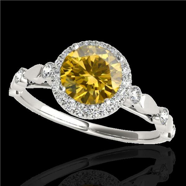 1.25 ctw Certified SI/I Fancy Intense Yellow Diamond Ring 10k White Gold - REF-177H3R