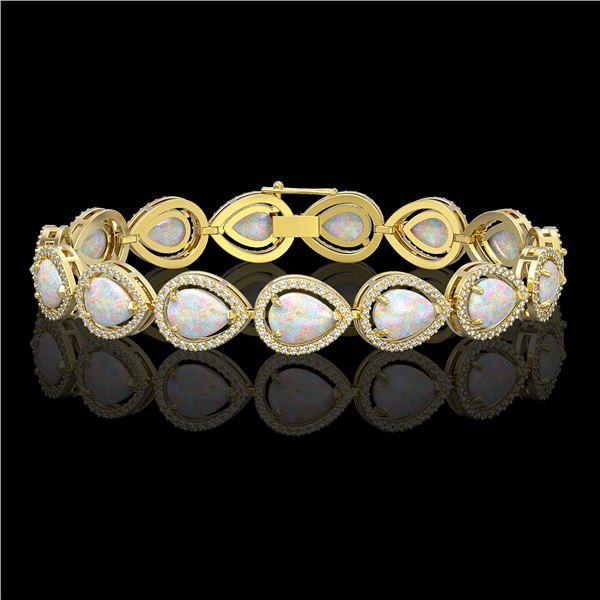 17.15 ctw Opal & Diamond Micro Pave Halo Bracelet 10k Yellow Gold - REF-321A6N