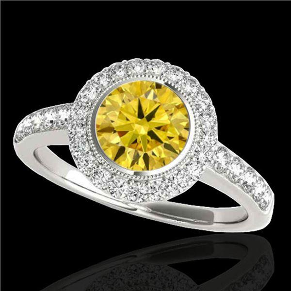 1.5 ctw Certified SI/I Fancy Intense Yellow Diamond Ring 10k White Gold - REF-204K5Y