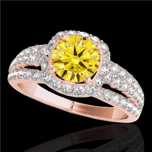 2 ctw Certified SI/I Fancy Intense Yellow Diamond Halo Ring 10k Rose Gold - REF-204F5M