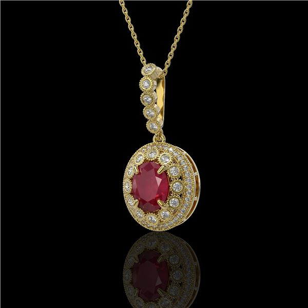 4.67 ctw Certified Ruby & Diamond Victorian Necklace 14K Yellow Gold - REF-136X5A