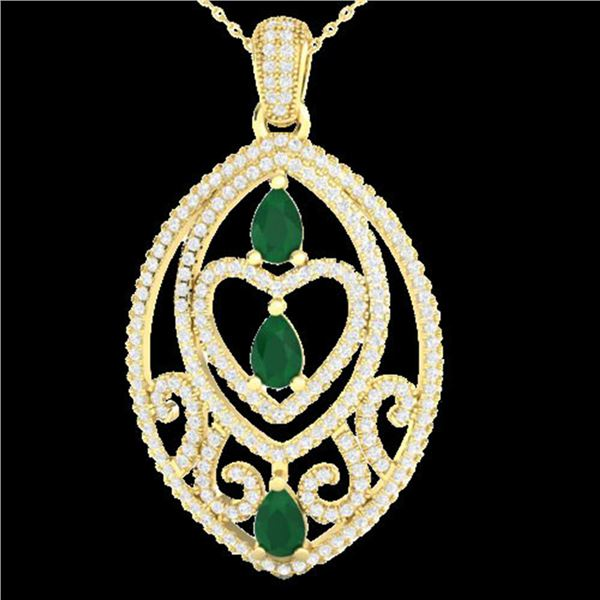3.50 ctw Emerald & Micro Pave Diamond Heart Necklace 18k Yellow Gold - REF-218A2N