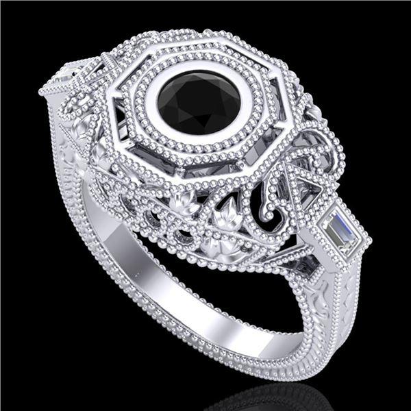 0.75 ctw Fancy Black Diamond Engagment Art Deco Ring 18k White Gold - REF-118R2K