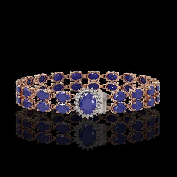 30.12 ctw Sapphire & Diamond Bracelet 14K Rose Gold - REF-336F4M