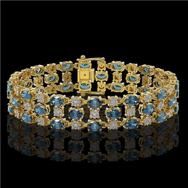16.06 ctw London Topaz & Diamond Row Bracelet 10K Yellow Gold - REF-209Y3X