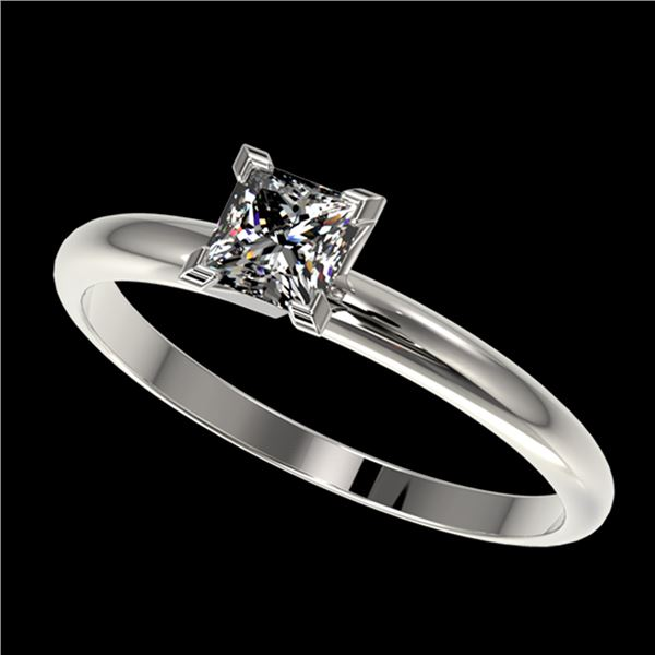 0.50 ctw Certified VS/SI Quality Princess Diamond Ring 10k White Gold - REF-60W3H