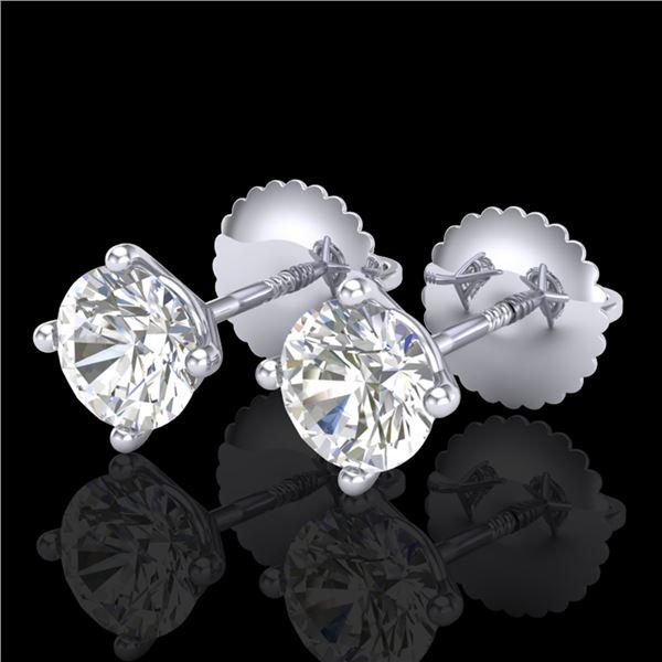 1.01 ctw VS/SI Diamond Solitaire Art Deco Stud Earrings 18k White Gold - REF-121X5A