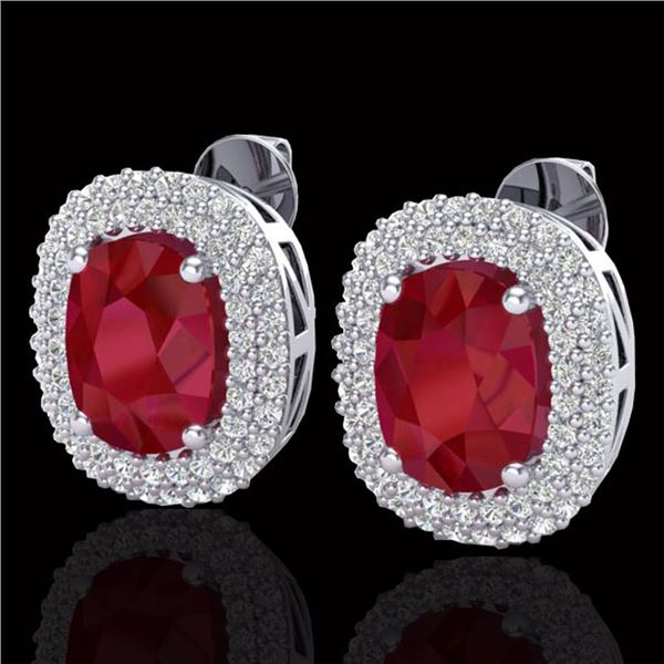 6.30 ctw Ruby & Micro Pave VS/SI Diamond Earrings 18k White Gold - REF-160R9K