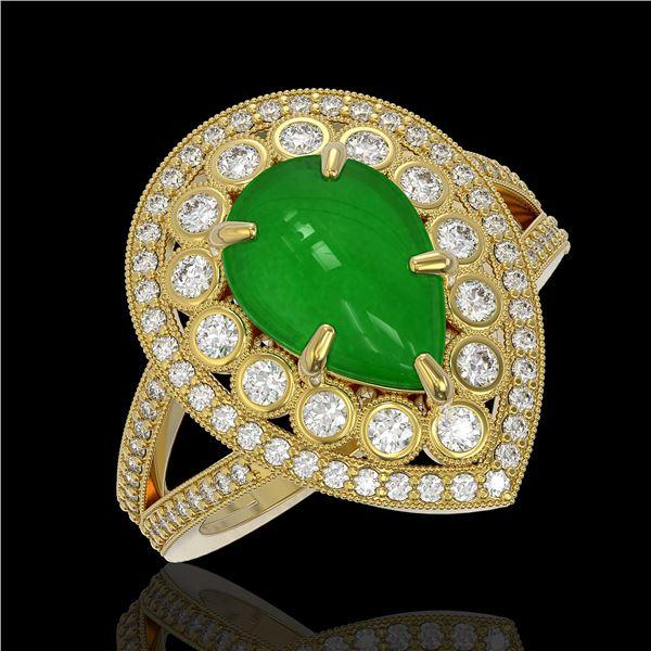 4.12 ctw Jade & Diamond Victorian Ring 14K Yellow Gold - REF-134W4H