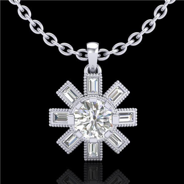 1.33 ctw VS/SI Diamond Solitaire Art Deco Stud Necklace 18k White Gold - REF-220K9Y