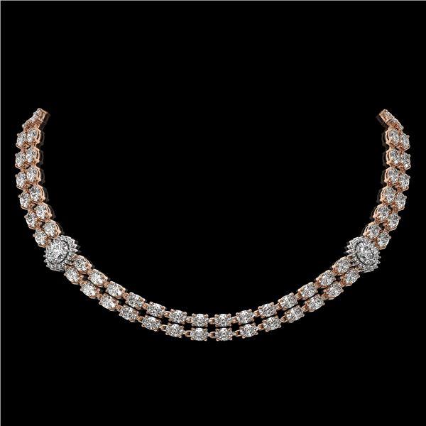 29.98 ctw Rare Oval Diamond Necklace 18K Rose Gold - REF-3584G9W