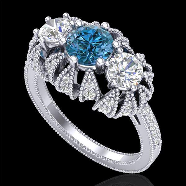 2.26 ctw Intense Blue Diamond Art Deco Micro Pave Ring 18k White Gold - REF-254X5A