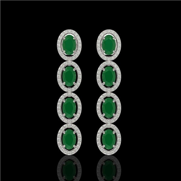 6.47 ctw Emerald & Diamond Micro Pave Halo Earrings 10k White Gold - REF-143X6A