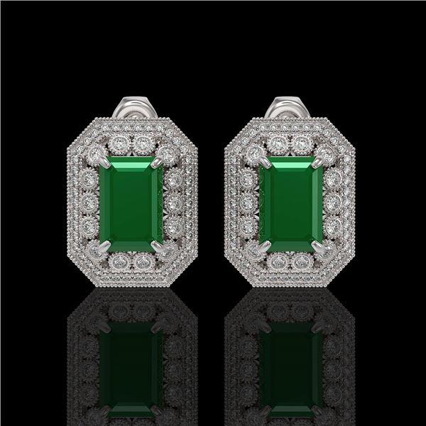 13.75 ctw Certified Emerald & Diamond Victorian Earrings 14K White Gold - REF-266G4W