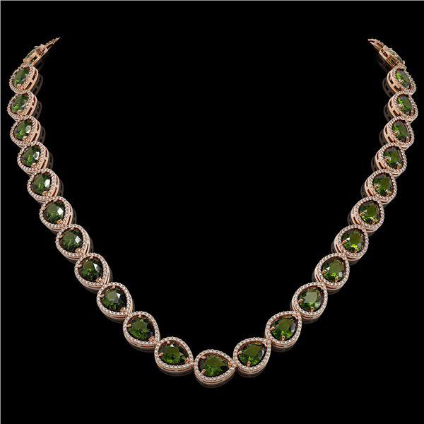 41.6 ctw Tourmaline & Diamond Micro Pave Halo Necklace 10k Rose Gold - REF-768Y4X