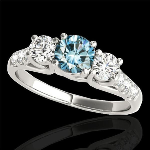 3.25 ctw SI Certified Fancy Blue Diamond 3 Stone Ring 10k White Gold - REF-295F9M