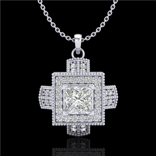 0.84 ctw Princess VS/SI Diamond Micro Pave Necklace 18k White Gold - REF-149X3A