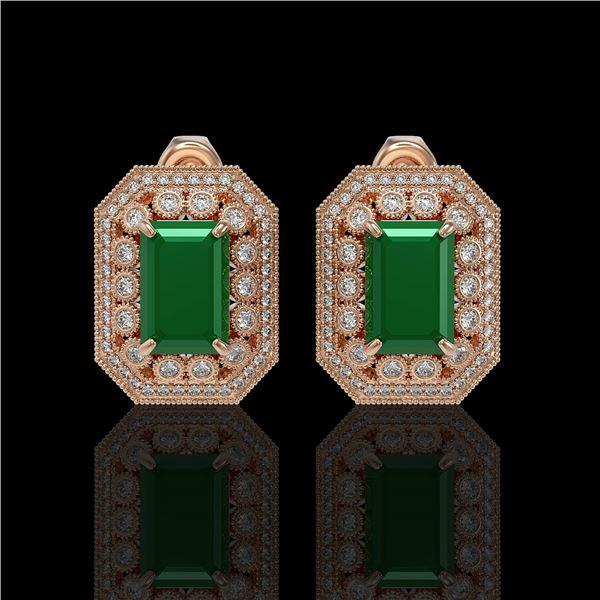 13.75 ctw Certified Emerald & Diamond Victorian Earrings 14K Rose Gold - REF-266H4R