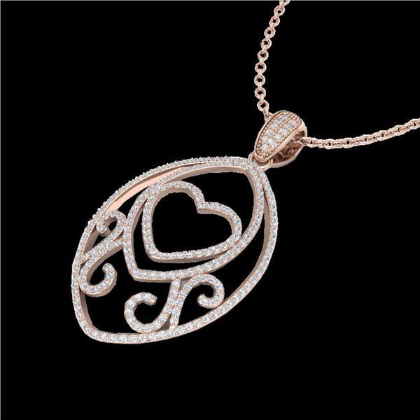 1.75 ctw Micro Pave VS/SI Diamond Heart Necklace 14k Rose Gold - REF-180M2G