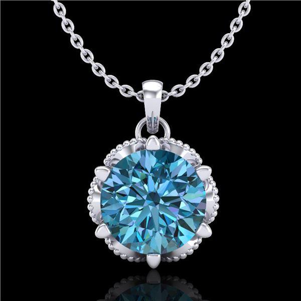 1.36 ctw Fancy Intense Blue Diamond Art Deco Necklace 18k White Gold - REF-180K2Y