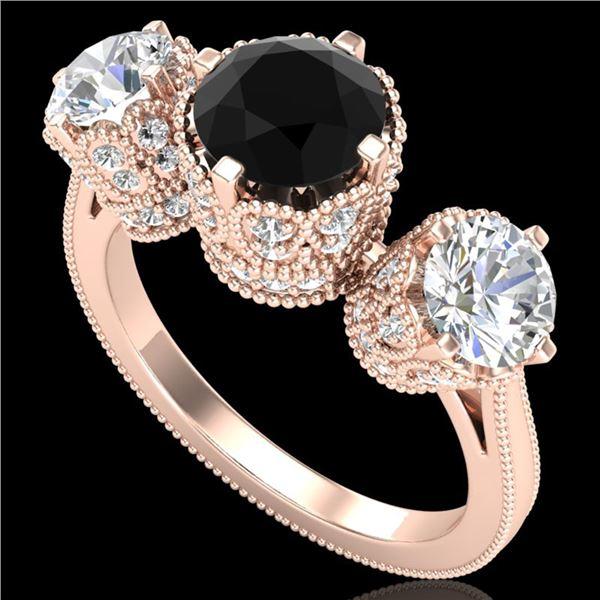3.06 ctw Fancy Black Diamond Art Deco 3 Stone Ring 18k Rose Gold - REF-294H9R