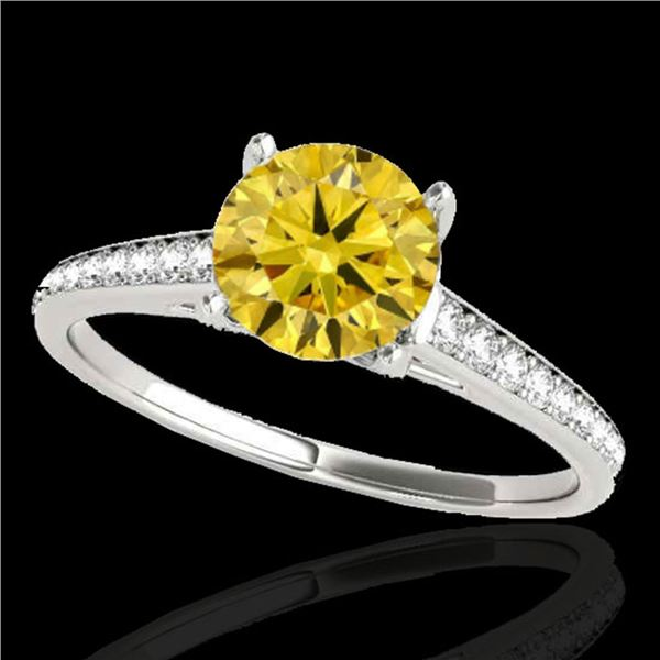 1.5 ctw Certified SI/I Fancy Intense Yellow Diamond Ring 10k White Gold - REF-190A9N