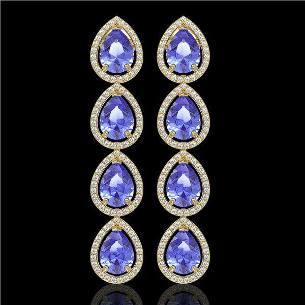 11.2 ctw Tanzanite & Diamond Micro Pave Halo Earrings 10k Yellow Gold - REF-286N9F