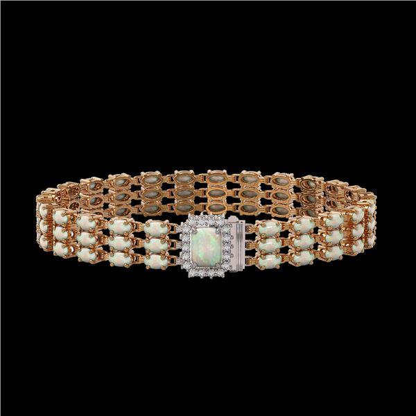 20.23 ctw Opal & Diamond Bracelet 14K Rose Gold - REF-318A2N