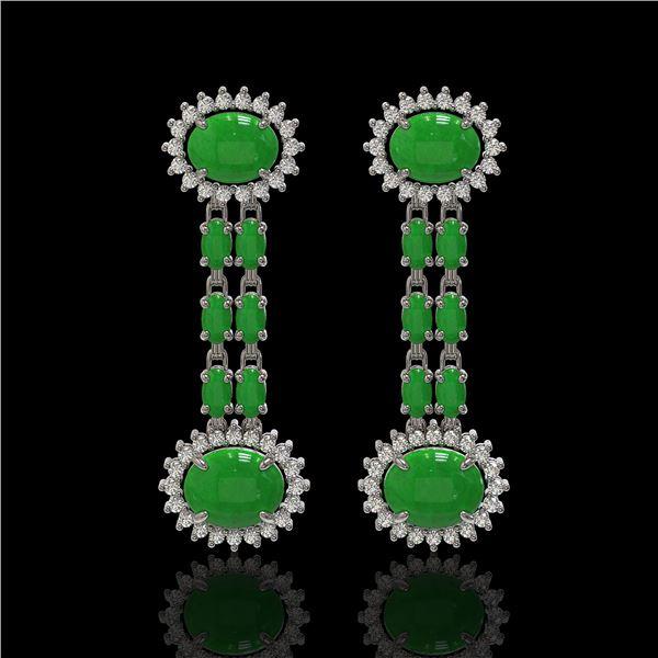 8.07 ctw Jade & Diamond Earrings 14K White Gold - REF-144R8K
