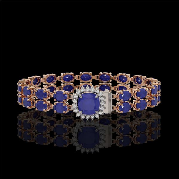 19.85 ctw Sapphire & Diamond Bracelet 14K Rose Gold - REF-245M5G