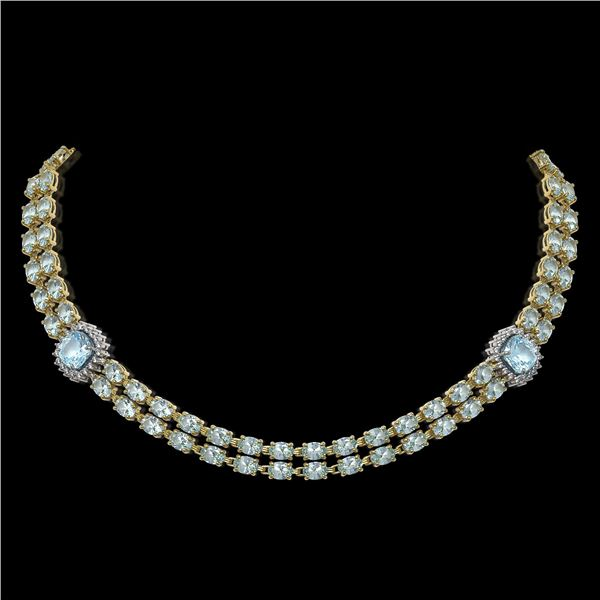 38.95 ctw Sky Topaz & Diamond Necklace 14K Yellow Gold - REF-527H3R
