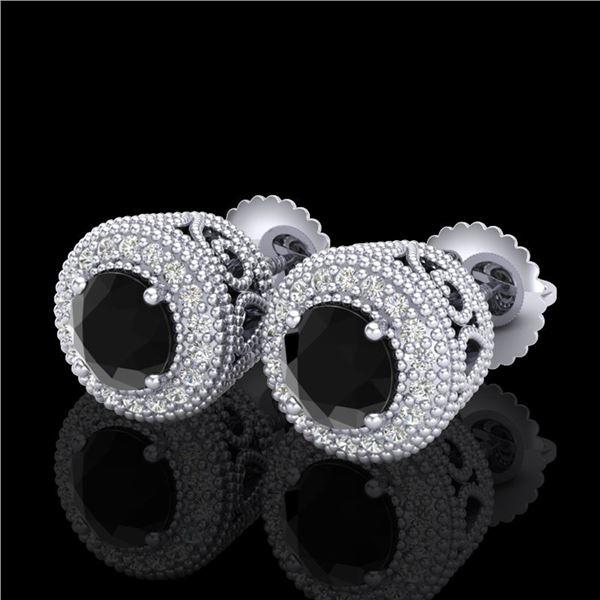 1.55 ctw Fancy Black Diamond Art Deco Stud Earrings 18k White Gold - REF-103Y6X