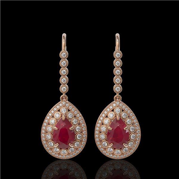 10.15 ctw Certified Ruby & Diamond Victorian Earrings 14K Rose Gold - REF-279M3G